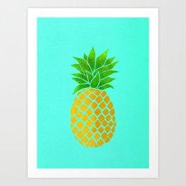 Pineapple on Teal Art Print