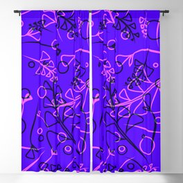 Vegetal purple and violet stems and elements on an eggplant background in a natural style. Blackout Curtain