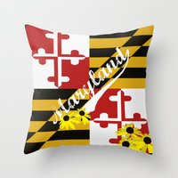 maryland Throw Pillows featuring Maryland Pride  by BeccaBlueyes