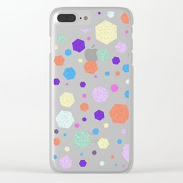 Colorful Hexagon Diamond Pattern Clear iPhone Case
