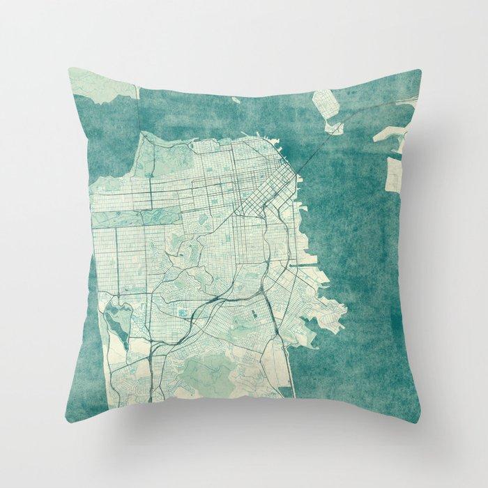 San Francisco Map Blue Vintage  Throw Pillow