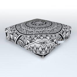 "Hypnotic Dotwork Flower Of Life Mandala - ""Barriers"" Outdoor Floor Cushion"