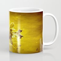nebula Mugs featuring Yellow neBUla  by 2sweet4words Designs