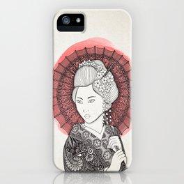 Japanese flag and Geisha iPhone Case