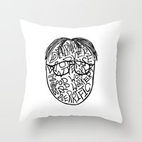 dwight schrute Throw Pillows featuring DWIGHT by Grace Billingslea