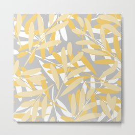 Floral, Leaves Print, Gray, Yellow, White, Art for Walls Metal Print