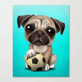 Cute Pug Puppy Dog With Football Soccer Ball Canvas Print