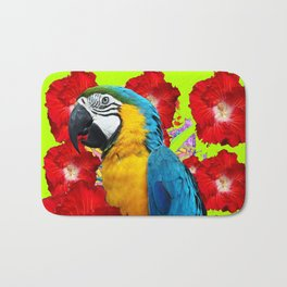 Chartreuse Red Hibiscus Flowers & Blue Macaw Parrot Bath Mat