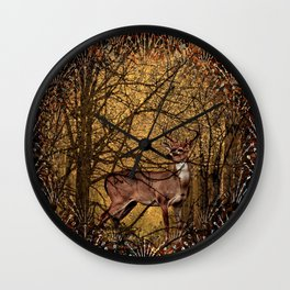 Autumn Pattern Deer In the Woods Wall Clock