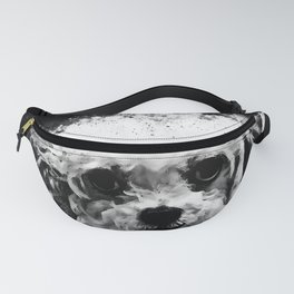 bolonka zwetna russian dog watercolor splatters black white Fanny Pack