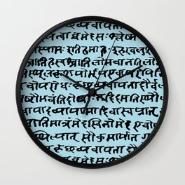 Sanskrit // Light Blue Wall Clock