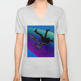 BMX in Fractal Movie Marquee Unisex V-Neck