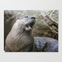 otter Canvas Prints featuring Otter by Veronica Ventress