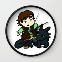 hiccup Wall Clocks featuring Chibi Hiccup and Toothless by Gio Garcia