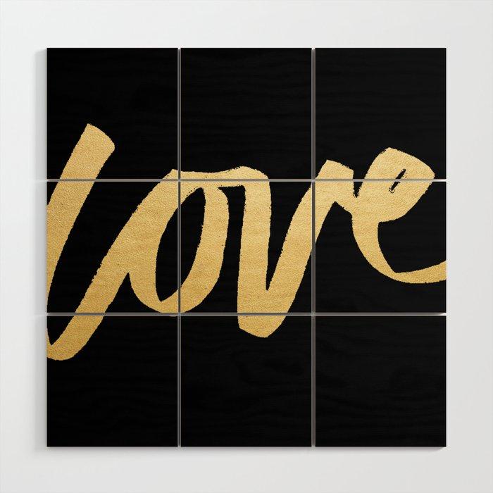 Love Gold Black Type Wood Wall Art