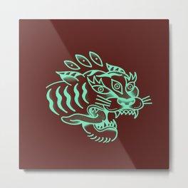 Neon Tiger Metal Print