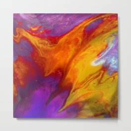 Fluid Abstract 37; The Fire Rages On Metal Print