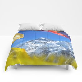 Summit of mount Everest or Chomolungma - highest mountain in the world, view from Kala Patthar,Nepal Comforters