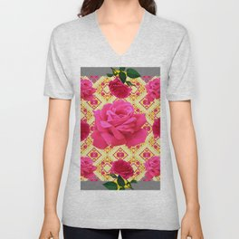 PINK GARDEN ROSES PATTERN  GREY ABSTRACT Unisex V-Neck
