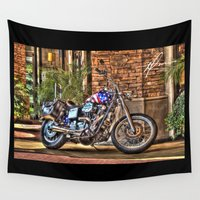 patriotic Wall Tapestries featuring Patriotic Bike 1 by Dennis Michael Tiffany
