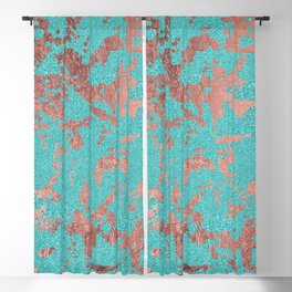 Modern turquoise glitter faux rose gold marble Blackout Curtain