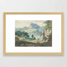 Adolph Kaiser 1804 Geisa   Weimar 1861 Mountain landscape with lake and goatherds Framed Art Print