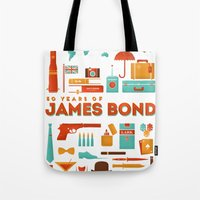 james bond Tote Bags featuring James Bond 50 Years  by RLCNTRS