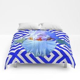 MODERN BLUE & WHITE ART DECO PATTERN IRIS Comforters