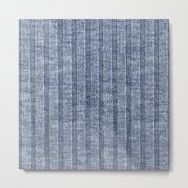 Denim Blue Jersey Knit Pattern Metal Print