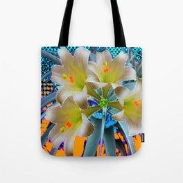 EASTER LILIES FLOWER  BLUE-GOLD FLORAL Tote Bag