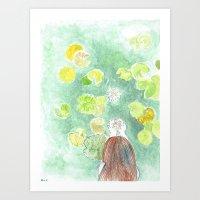Girl with waterlilies Art Print