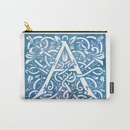 Letter A Vintage Floral Letterpress Monogram Carry-All Pouch