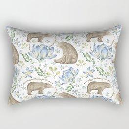 Bears in Blue Flowers Rectangular Pillow