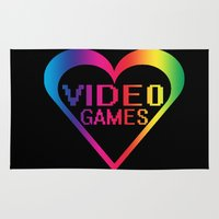 video games Area & Throw Rugs featuring love video games by seb mcnulty