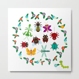 Funny insects Spider butterfly caterpillar dragonfly mantis beetle wasp ladybugs Metal Print