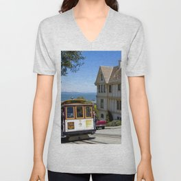 Cable car on Hyde street in San Francisco Unisex V-Neck