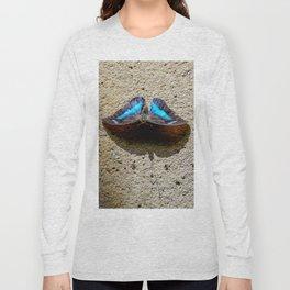 Blue Morpho Butterfly by Teresa Thompson Long Sleeve T-shirt