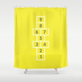 Hopscotch Yellow Shower Curtain