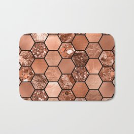 Rose gold hexaglam Bath Mat