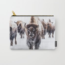 Bison Herd Through The Snow Carry-All Pouch