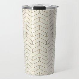 Simple Linear Geometry in Cream Travel Mug