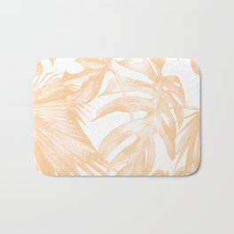 Island Vacation Hibiscus Palm Coral Bath Mat