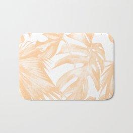 Island Vacation Hibiscus Palm Coral Bath Mat