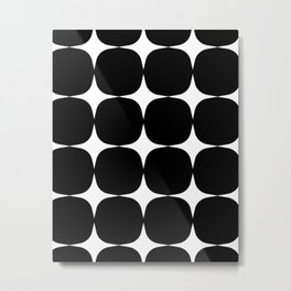 Retro '50s Shapes in Black and White Metal Print