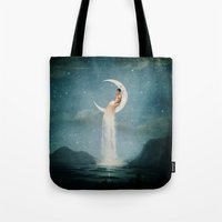 nan lawson Tote Bags featuring Moon River Lady by Paula Belle Flores
