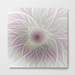 Fantasy Flower, Abstract Fractal Art Metal Print