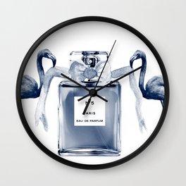 Perfume with flamingos Wall Clock