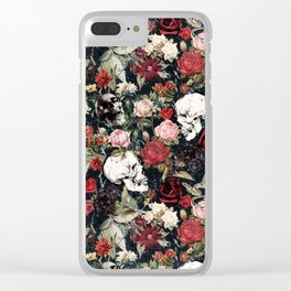 Vintage Floral With Skulls Clear iPhone Case