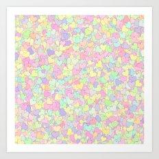 Cute Pastel Hearts 13 Art Print