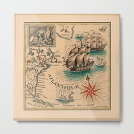 Atlantique Vintage Map design Metal Print
